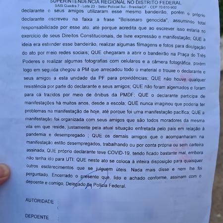 Depoimento de homem preso pela PM do DF com base na Lei de Segurança Nacional - Arquivo pessoal