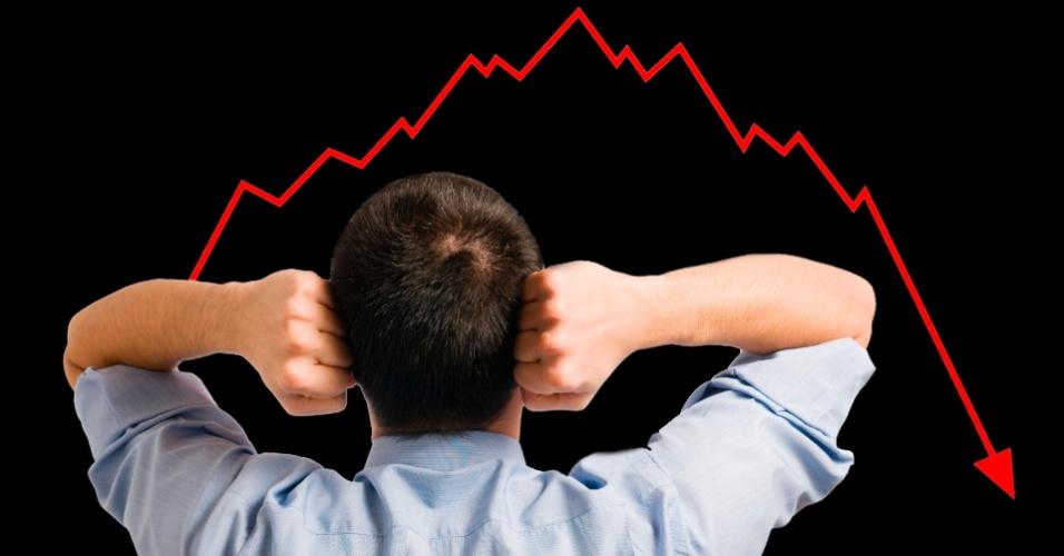Gráfico de queda, crise