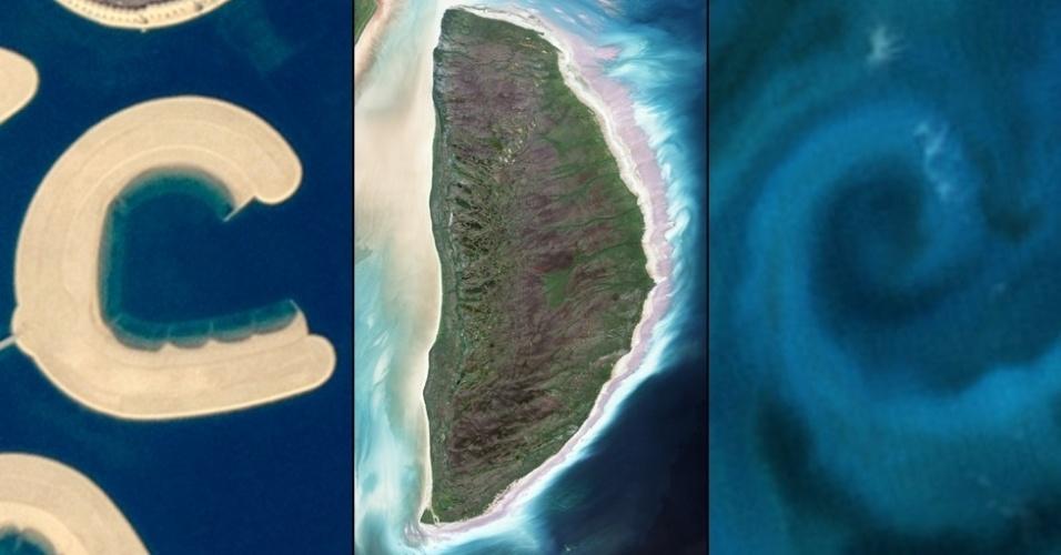 """6.jan.2015 - A letra """"C"""" é a foto tirada por um astronauta de uma ilha artificial na parte sul do Barein em 2011. A """"D"""" é a ilha Akimiski, em James Bay, no Canadá, uma foto de agosto de 2.000, a letra """"E"""" é formada por um agrupamento de fitoplâncton na costa da Nova Zelândia"""