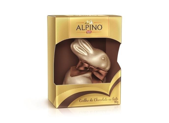 Coelho de chocolate Alpino, de 90g, da Nestlé. O preço não foi divulgado