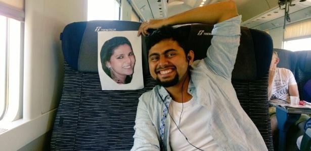 Faizan Patel viajou com uma foto da mulher para a lua de mel na Itália