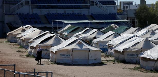 13.jul.2016 - Campo de refugiados improvisado no Complexo de Helliniko, utilizados nos Jogos de 2004