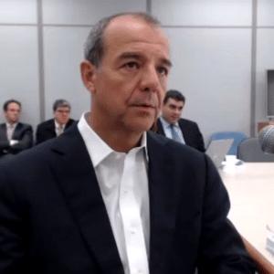 O ex-governador Sérgio Cabral, durante depoimento à Justiça - Reprodução de vídeo