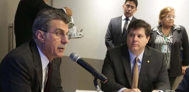 Romero Jucá e Baleia Rossi participam de reunião da Executiva do PMDB