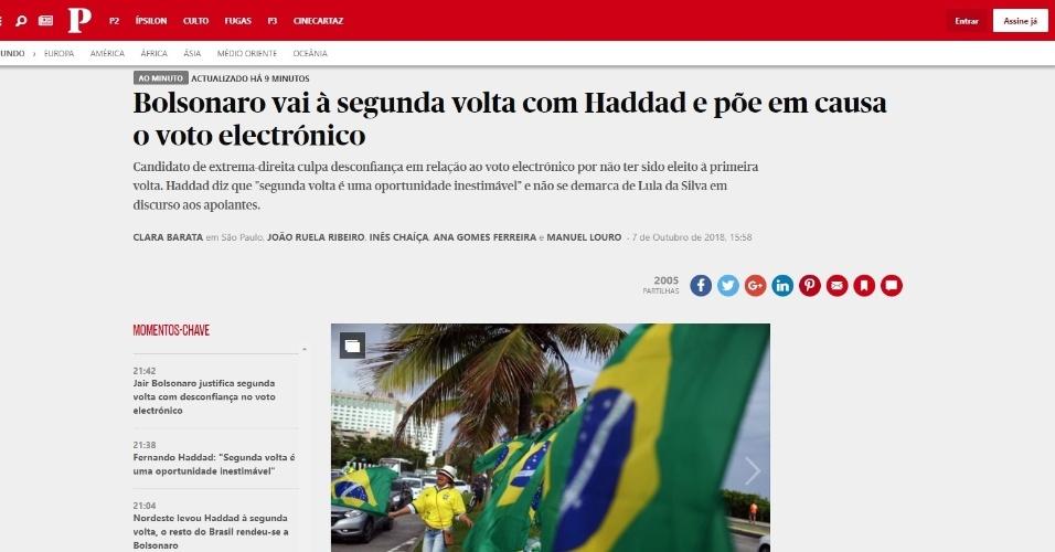 """Público (Portugal): """"Bolsonaro vai ao segundo turno com Haddad e põe em xeque o voto eletrônico"""""""
