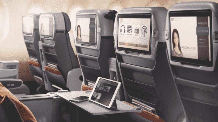 Assentos da classe 'econômica premium' da companhia aérea Singapore Airlines (aviação, avião, viagem; turismo; aeronave) - Divulgação - Divulgação