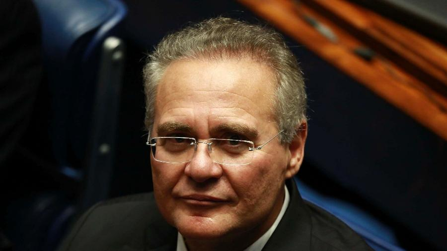 1.fev.2019 - O senador Renan Calheiros (MDB-AL) durante sessão solene de posse dos senadores eleitos, no plenário do Senado Federal em Brasília, nesta sexta-feira  - Fátima Meira/FuturaPress/Estadão Conteúdo