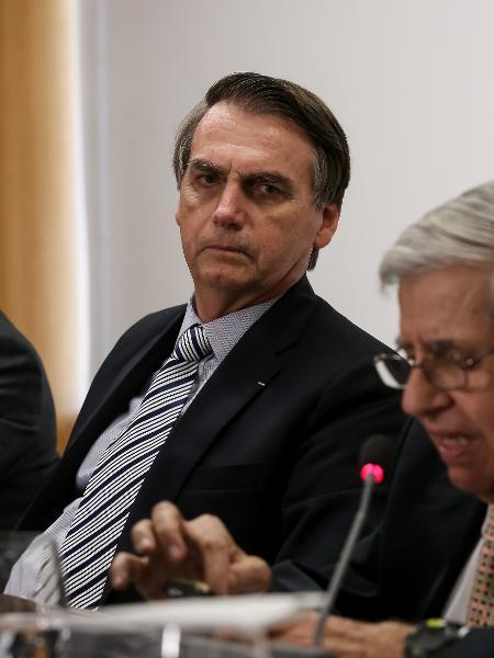 22.fev.2019 - Jair Bolsonaro e general Augusto Heleno durant reunião sobre Venezuela -  Marcos Corrêa/PR