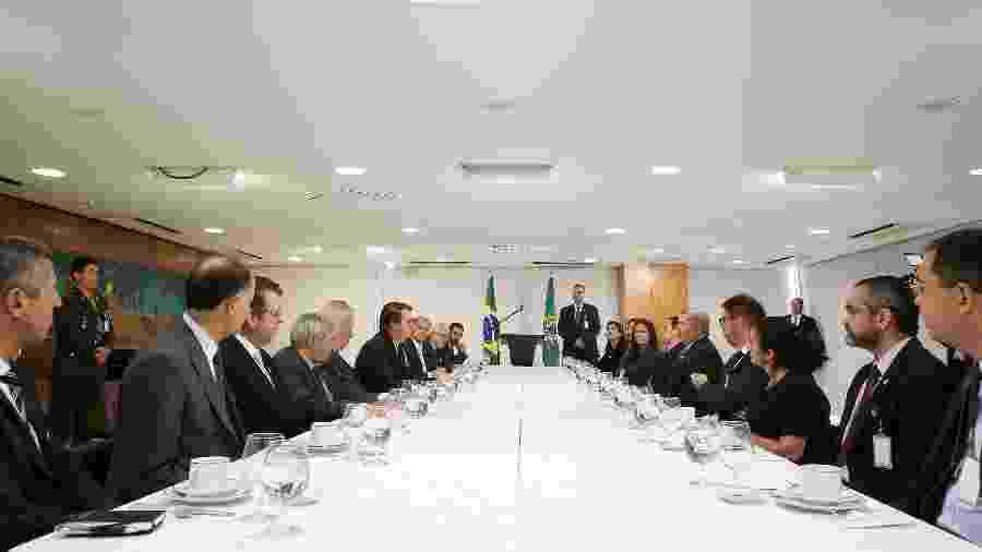 O presidente Jair Bolsonaro durante café da manhã com jornalistas - Divulgação/Presidência