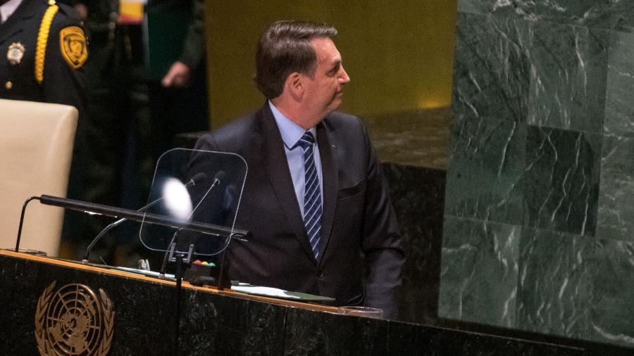 O presidente da República Jair Bolsonaro fala durante abertura da 74ª Assembleia Geral da Organização das Nações Unidas (ONU) em Nova York nos Estados Unidos nesta terça-feira, 24. -  William Volcov/Brazil Photo Press/Folhapress