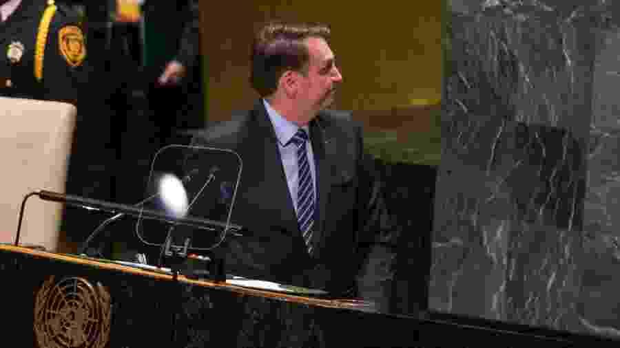 O presidente da República Jair Bolsonaro fala durante abertura da 74ª Assembleia Geral da Organização das Nações Unidas (ONU) -  William Volcov/Brazil Photo Press/Folhapress