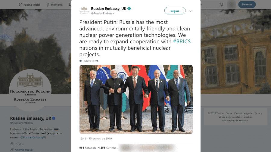 """15.nov.2019 - Embaixada russa """"esquece"""" de Bolsonaro em foto do Brics - Reprodução/Twitter"""