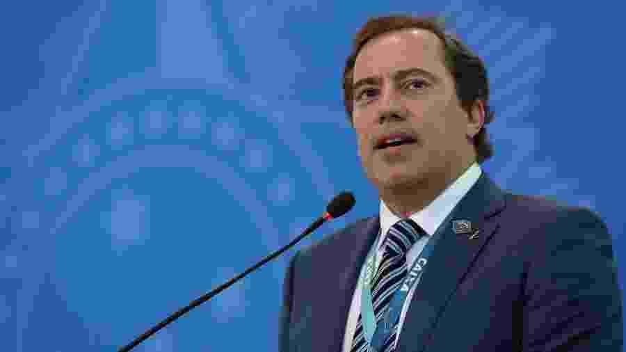 20.fev.2020 - Presidente da Caixa, Pedro Guimarães, durante lançamento do crédito imobiliário com taxa fixa - Marcos Corrêa/PR