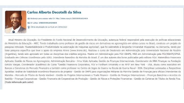 Ministro do MEC, Carlos Decotelli edita novamente o currículo Lattes após universidade alemã não reconhecer pós-doutorado do economista - Reprodução - Reprodução