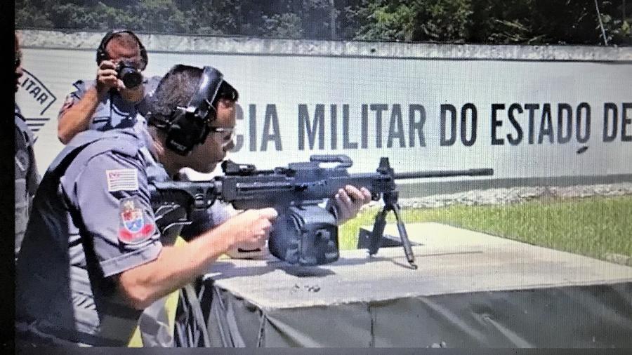 Polícia Militar de SP faz teste com metralhadora israelense Negev em fev.2020 - Reprodução/Redes sociais
