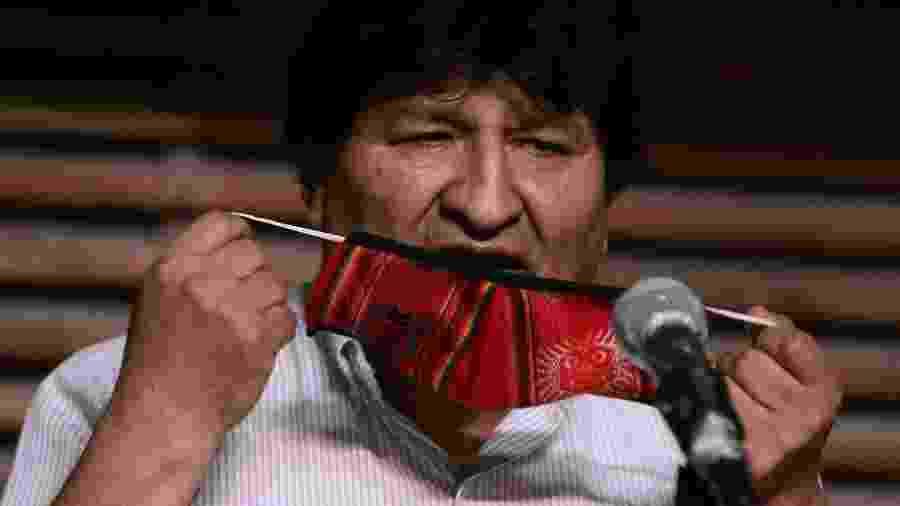 O ex-presidente da Bolívia, Evo Morales, discursa após encerramento das eleições presidenciais no país - Alejandro Pagni/AFP
