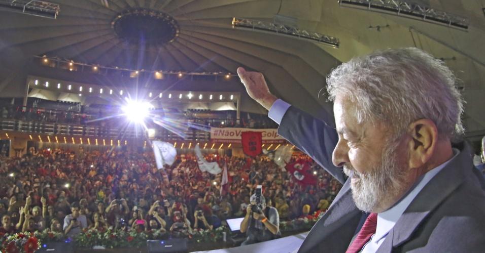 8.abr.2016 - O ex-presidente Luiz Inácio Lula da Silva participa