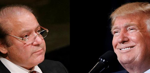 O primeiro-ministro paquistanês Nawaz Sharif (esq.) e o presidente eleito dos EUA Donald Trump