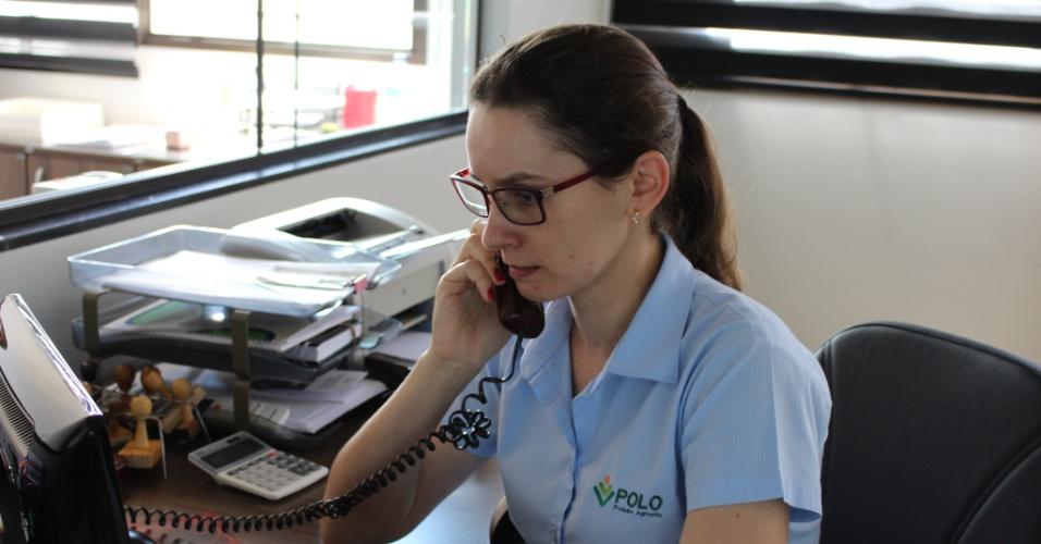 Secretária Iliane Schwingel contratada recentemente por empresa de insumos que mudou para sede maior para atender à demanda do agronegócio local