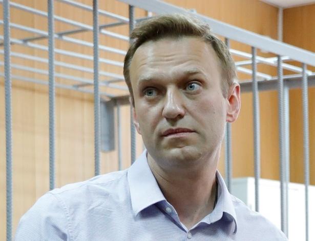 Alexei Navalny, durante audiência dias após organizar protesto contra Putin