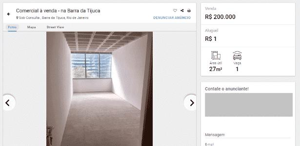 escritorio 27 m2 Barra da Tijuca/RJ, carência dois anos de aluguel, contrato dois anos e meio  - Imovelweb/Reprodução - Imovelweb/Reprodução