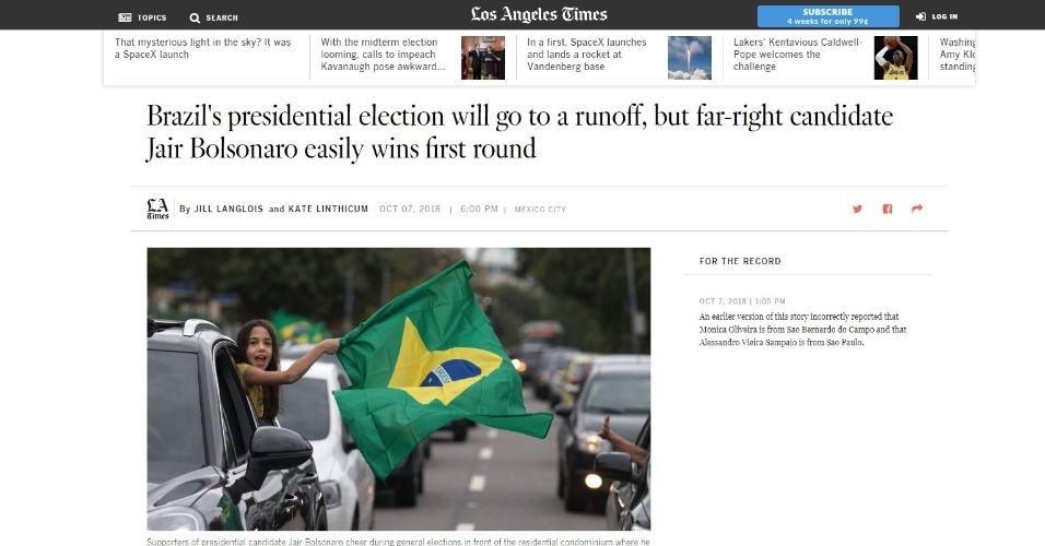 """Los Angeles Times (EUA): """"Eleição presidencial do Brasil vai para segundo turno, mas Jair Bolsonaro, da extrema-direita, vence com facilidade o primeiro turno"""""""