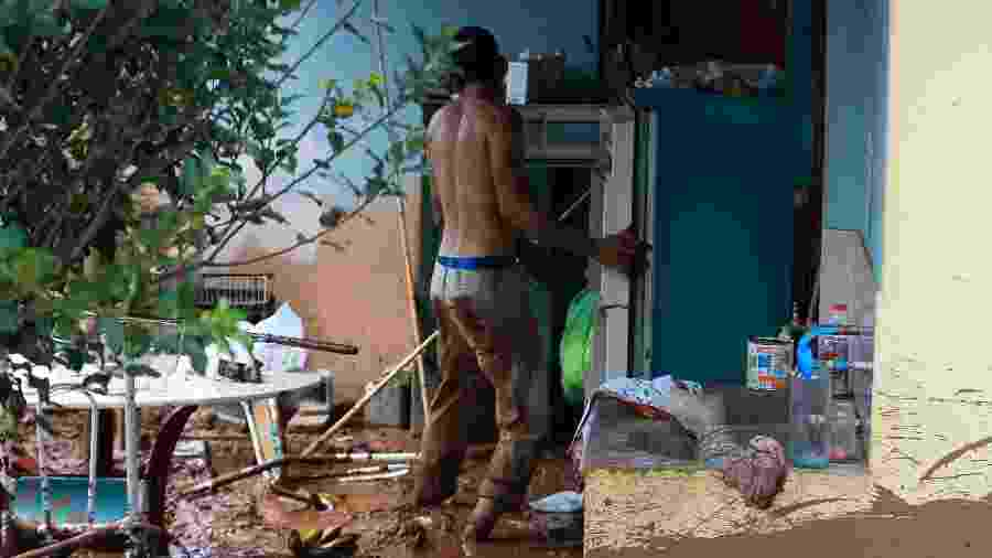 25.jan.2019 - Morador de Brumadinho tenta recuperar bens em sua casa após rompimento de barragem de rejeitos da Vale - Xinhua/Ernesto Rodrigues/AGENCIA ESTADO