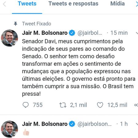 Jair Bolsonaro parabeniza Davi Alcolumbre pela vitória para a presidência do Senado Federal - Twitter/Reprodução - Twitter/Reprodução