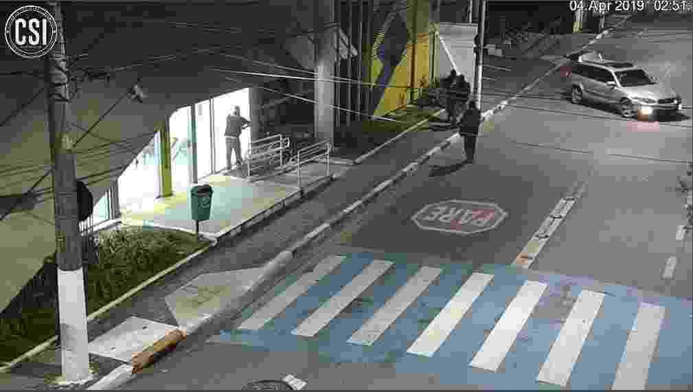 Câmeras do circuito de segurança mostraram ação de criminosos em agência do Banco do Brasil, em Guararema (SP) - Prefeitura de Guararema