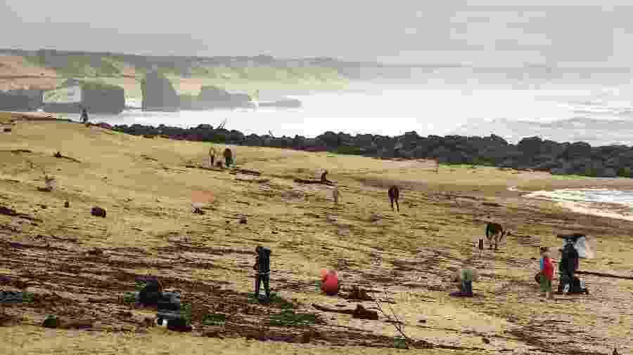 Vista da praia em Capbreton, na França, onde pacotes com cocaína foram encontrados nos últimos dias - Gaizka Iroz/AFP