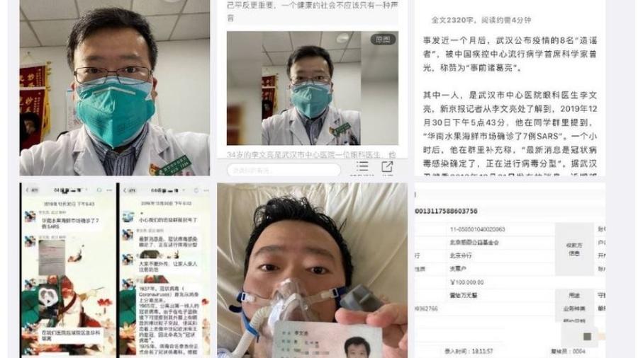 Reprodução de posts no Weibo que tratam do caso de Li Wenliang - Reprodução