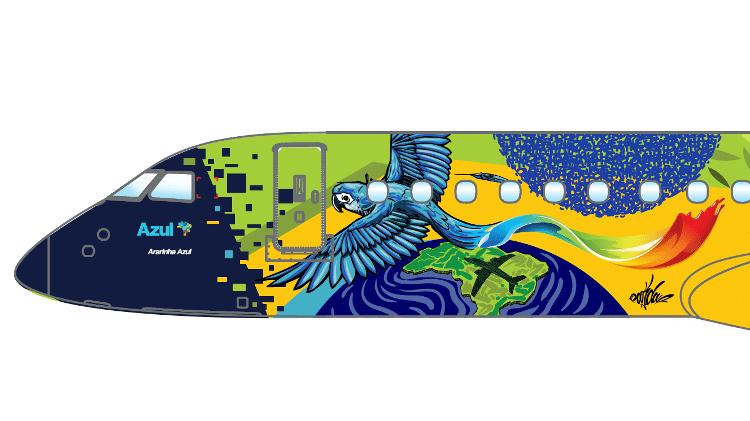 Ao lado da porta de embarque dos passageiros, sombra de uma arara se transforma na imagem de um avião sobre o mapa do Brasil - Divulgação