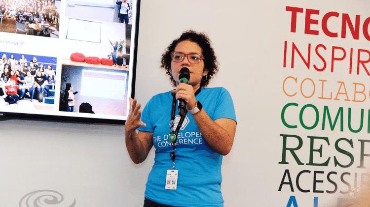 Melanie Miranda, 31 anos, programadora que criou o Lista das Minas, durante evento - Arquivo pessoal - Arquivo pessoal