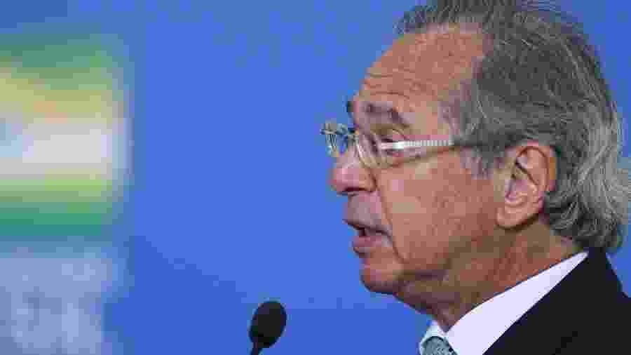 O ministro da Economia, Paulo Guedes, durante cerimônia da prorrogação do auxílio emergencial - Edu Andrade/Ascom/ME