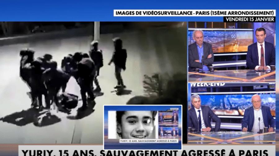 Imagens da agressão gravadas por câmeras de segurança e exibidas pelo canal francês CNEWS - Reprodução/CNEWS