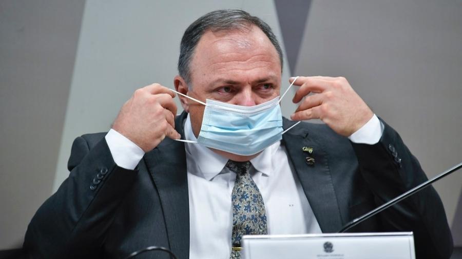 20.mai.2021 - O ex-ministro da Saúde, Eduardo Pazuello, durante 2º depoimento à CPI da Covid - Leopoldo Silva/Agência Senado