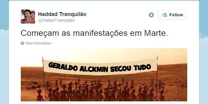 28.set.2015 - O perfil Haddad Tranquilão postou no Twitter montagem com marcianos culpando o governador de São Paulo, Geraldo Alckimin, pela futura falta de água no planeta