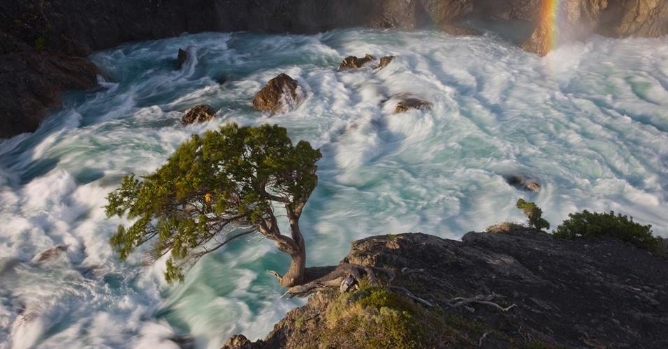 24.nov.2015 - As manhãs que têm chuvas e ventos de até 75 km por hora tendem a se transformar em tardes de sol às margens do rio Paine, no Chile. Entretanto, o tempo imprevisível faz pouco estrago na paisagem