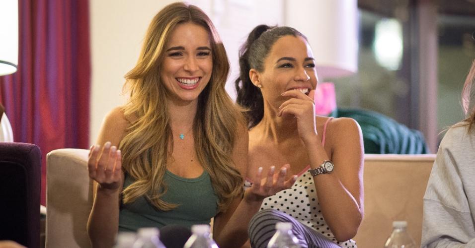 Festa do pijama entre participantes do concurso de beleza foi bem animada, como mostra expressões da Miss Austrália e da Miss Jamaica. A disputa do Miss Universo 2015 ocorre na noite deste domingo (20), em Las Vegas, nos Estados Unidos