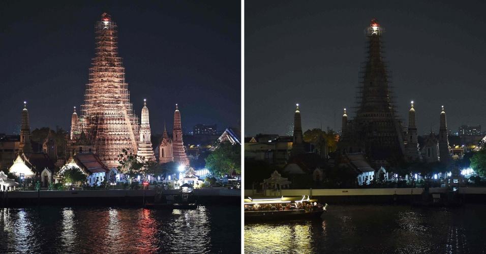 19.mar.2016 - Wat Arun, ou Templo do Amanhecer, tem sua iluminação apagada durante a Hora do Planeta em Bangcoc, na Tailândia. A Hora do Planeta está sua 10ª edição e mais de 150 países participaram neste ano