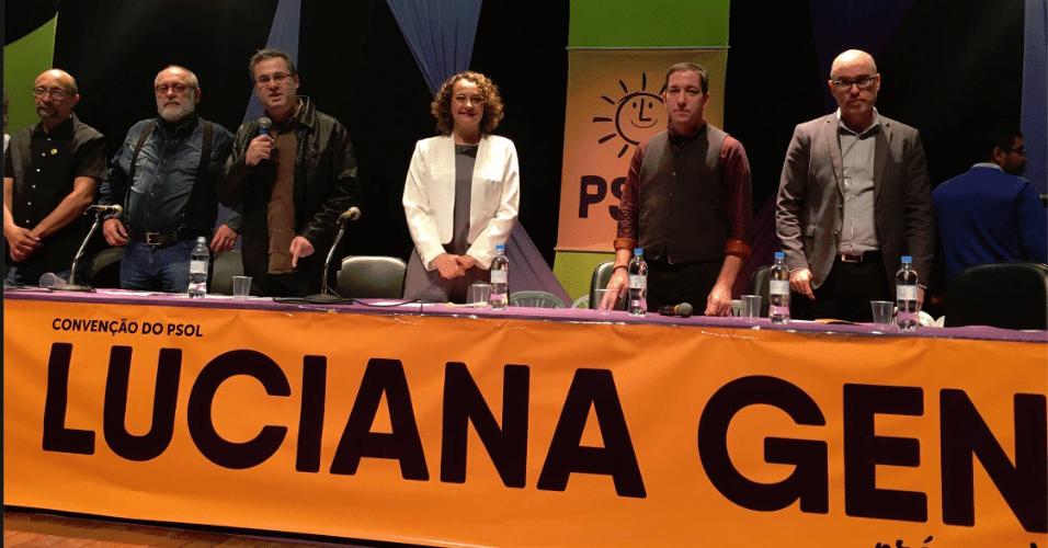 24.jul.2016 - A ex-deputada federal Luciano Genro participa da convenção do PSOL na Assembleia Legislativa de Porto Alegre que confirmou sua candidatura à prefeitura da capital gaúcha
