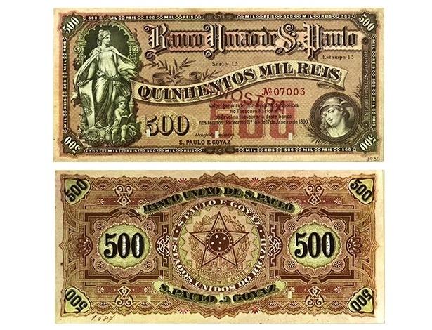 Muitos bancos estaduais e particulares eram autorizados a emitir cédulas que circulavam junto com as emitidas pelo governo federal. No caso, o Banco União de São Paulo