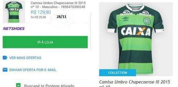69293e8d0 Camisa da Chapecoense quase dobra de preço em site e internautas criticam