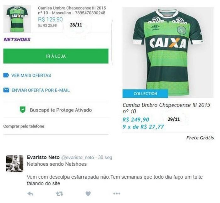 40a84679e Camisa da Chapecoense quase dobra de preço em site e internautas criticam -  29 11 2016 - UOL Economia