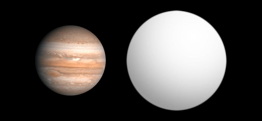 Foto compara tamanho de Júpiter (à esq.) com o gigante HAT-P-7 b (à dir.)