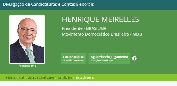 Henrique Meirelles (MDB) em ficha de registro de candidatura do TSE