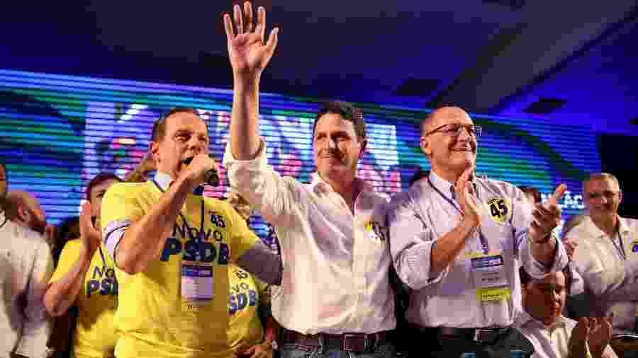 O governador de SP, João Dória, o novo presidente do PSDB Bruno Araújo e o ex-governador Geraldo Alckmin - 31.mai.2019 - Pedro Ladeira/Folhapress