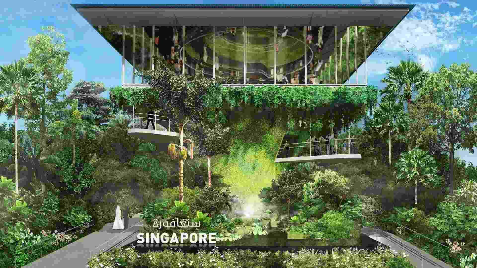 Será difícil perceber onde a natureza termina e a arquitetura começa no pavilhão de Singapura, que parecerá mais uma selva - Divulgação