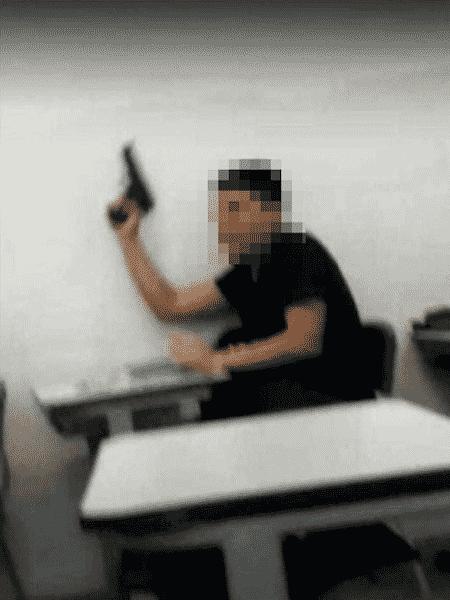 Aluno armado em escola de Santos (SP) - Reprodução