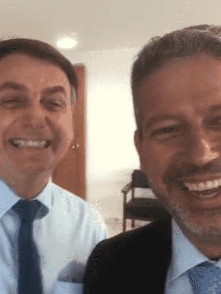 Bolsonaro com líder do PP na Câmara, Arthur Lira: tapete vermelho no Planalto - reprodução